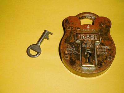 VINTAGE Old English JARED solid brass 4 levers lock with key