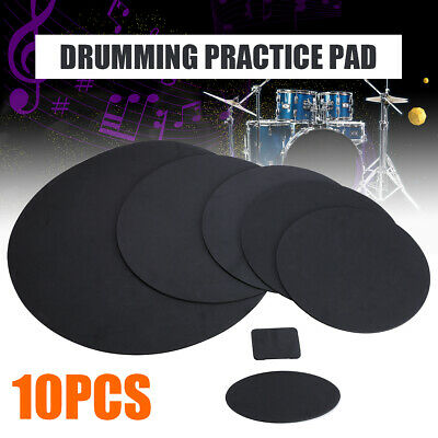 10x Rubber Foam Bass Snare Drums Silencer Mute Drumming Practice Pad Set