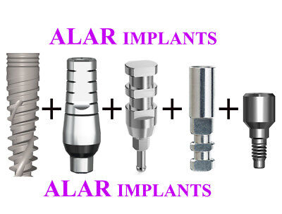 10X Dental spiral Implant+10X Straight Abutments +10 HC+10 transfers+10 analogs