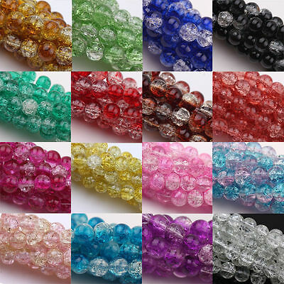 Wholesale 20/50/100PCS Round Crystal Crack Glass Loose Spacer Beads 6/8/10/12mm