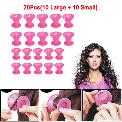 NEW Silicone Hair Curler Magic Hair Care Rollers No Heat Hair Styling Tool Pink