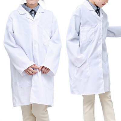 Kids Boys Girls Soft White Lab Coat Scientist Dr. Doctor Medical Coat Costumes