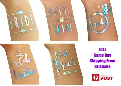 Hens Night Bachelorette Party Flash Tattoos Team Bride Tribe Iridescent Silver