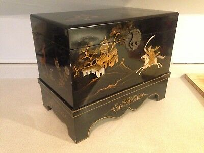 Fantastic Large Mid Century Japanese Lacquered Hand Painted Wooden Chest & Base