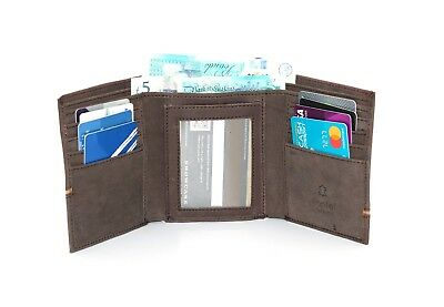 Vintage Mens Real Leather Credit Card Holder ID Blocking Trifold Wallet nEW