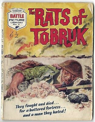 """1961. NUMBER ONE """"BATTLE PICTURE LIBRARY"""" War Comic #1. """"The Rats of Tobruk"""""""