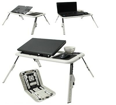 Laptop Table Stand Tray Desk Holder With 2 USB Cooling Fans For Sofa Bed