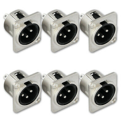 Chassis 3Pin Male Panel Mount Microphone Metal XLR Audio Socket Connector 6pcs