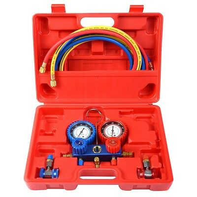 R134A Manifold Gauge Set AC A/C 6FT Colored Hose Air Conditioner with Red Case