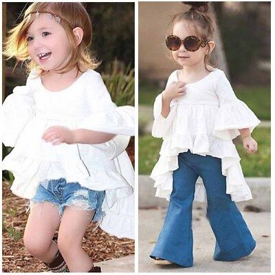 Fashion Kid Girl Toddler White Dress Short Skirt Tops Ruffle Sleeve Lace Party