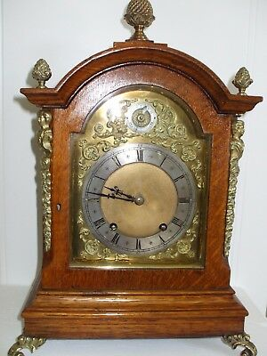 Antique Golden oak Ting Tang bracket clock in superb condition