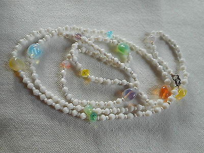 Vintage old and unusual multi color glass and white glass bead necklace,38""
