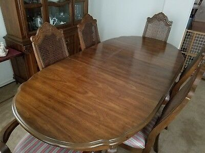 VINTAGE BERNHARDT Solid Mahogany Dining Room Set Table+Six Chairs+China  Cabinet