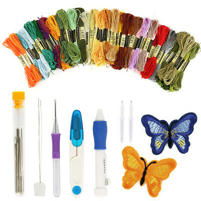 Magic Embroidery Pen Punch Needle Set Including 50 Color Threads Sewing kit wniu