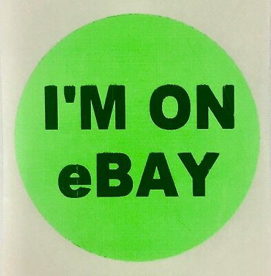 """2 Rolls 2"""" Circle Green I'M ON eBAY Shipping Mailing Stickers 500 Labels ea Roll"""
