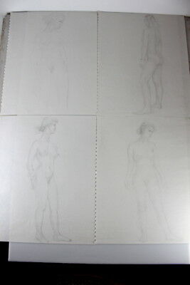 Lot of 4 Vintage Nude Pencil Sketches Figure Drawings Female Women Standing