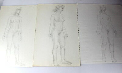 Lot of 3 Vintage Nude Pencil Sketches Full Figure Drawings Female Women Standing