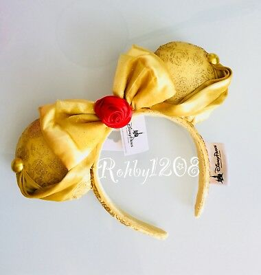 Disney Beauty & The Beast Tale as Old Time Red Rose Belle Minnie Ears Headband