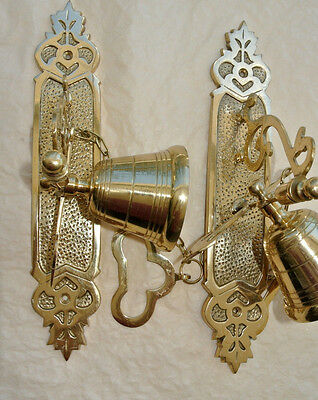 """2 large 10"""" Solid real Brass heavy BELL Door PULL CHAIN ring polished exterior B"""