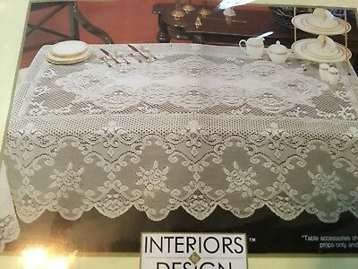 """NEW in PACKAGE 2008  FLORAL WHITE LACE TABLECLOTH 52"""" x 70"""" Interiors By Design"""
