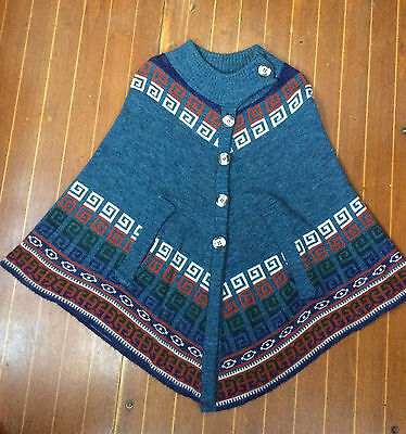 "Fab Blue Patterned Vintage ""quality Knitwear"" Poncho Size M"