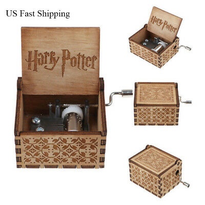 US Fast Shipping Harry Potter Wooden Hand Engraved Music Box Fun Toys Kids Gifts