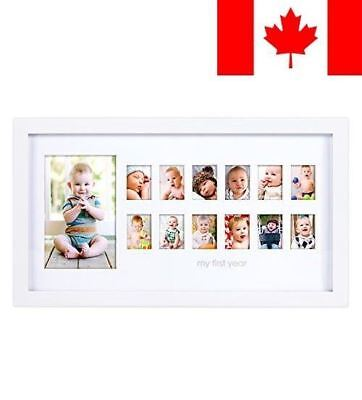 """Pearhead """"My First Year"""" Photo Moments Baby Keepsake Frame, White"""