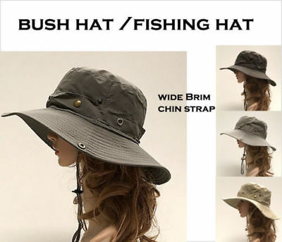 Bucket Hat Bush walking Fishing Outdoor Summer Hat Wide Brim Strap-Uni Sex 58cm