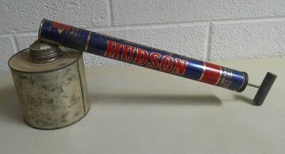 Vintage 1955 NICE Metal HUDSON SPRAYER DUSTER 1 quart can Chicago BLUE