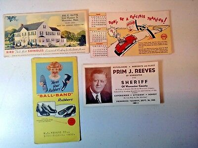 Lot of 4-Vintage  Advertising Blotters-Cars-construction-Shoes-Sheriff