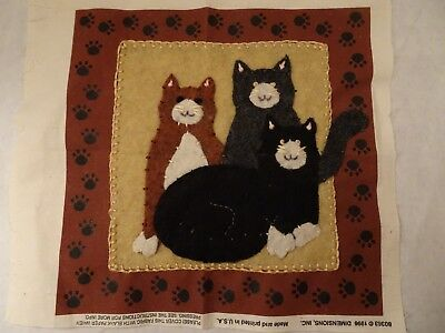 "Trio Of Kittens, Mini Felt Pillow Top Completed, Dimensions Kit 1996, 8"" Square"