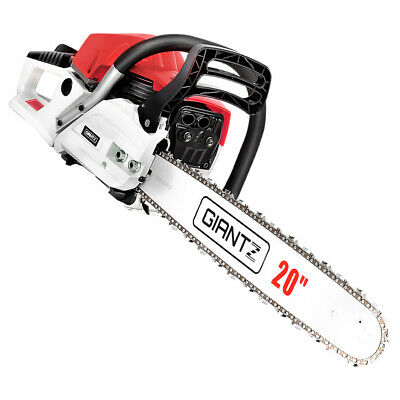 62cc Petrol Commercial Chainsaw Bar E-Start Tree Pruning Chain Saw- Red & White