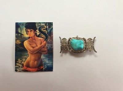 Vintage Chinese Export Sterling Silver Filagree Natural Turquoise Brooch