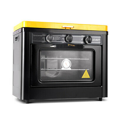 3 Burner Portable Gas Oven and Stove Camping Outdoor Adventure - Black & Yellow