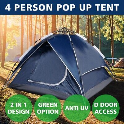4 Person Double Layer Instant Auto Pop Up Camping Tent Sun Shelter Canvas Swag