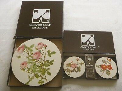 """CLOVER LEAF Place Mats & Coaster  Sets  """"Redoute Roses"""" Made in United Kingdom"""