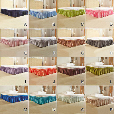 Solid & Soft Wrap Around Bed Skirts Drop Elastic Bed Skirt Twin Queen King Size