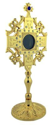 Fleur De Lis Cross Top 9 1/2 Inch Gold Tone over Brass Reliquary Relic Container