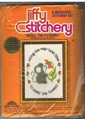 616 Vintage Jiffy Stitchery Smell the Flowers Crewel Embroidery Mouse Blyler 5x7