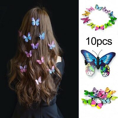 New 10x Butterfly Hair Clips Bridal Hair Accessories Wedding Photography Costume