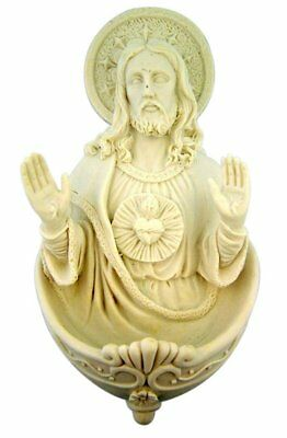 White Resin Sacred Heart of Jesus Christ Holy Water Font, 6 1/4 Inch