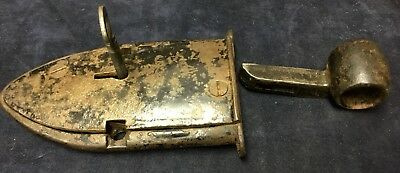 Rare Antique Lock Highly Unusual Shaped Lock Padlock Cast Iron Simple Action