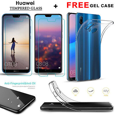 For Huawei P20 Pro Lite Tempered Glass Screen Protector + Clear Case Cover