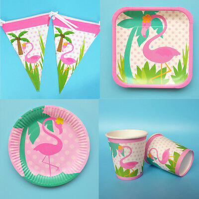 Tropical Summer Fiesta Flamingo Beach Complete Birthday Party Tableware Set