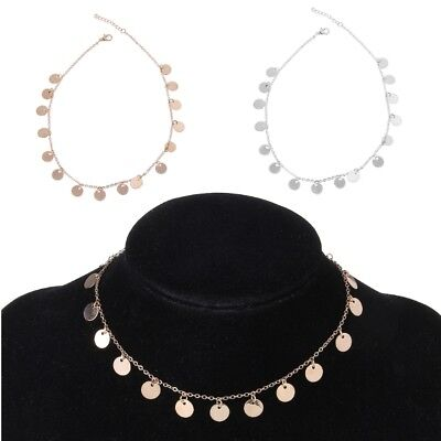 Boho Minimalist Gold Tone Coin Sequin Choker Discs Chain Thin Necklace For Women
