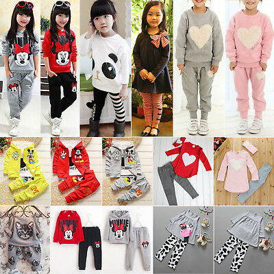 Toddler Kids Baby Girls Tracksuit Long Sleeve T-Shirt Tops + Pants Outfits Set