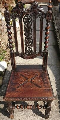 Antique Dark Oak Barley Twist Gothic Style Hall Chair Restoration Project