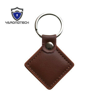 13.56MHz HF ISO14443A MIFARE Classic 1K Brown Leather RFID Key fob -2pcs
