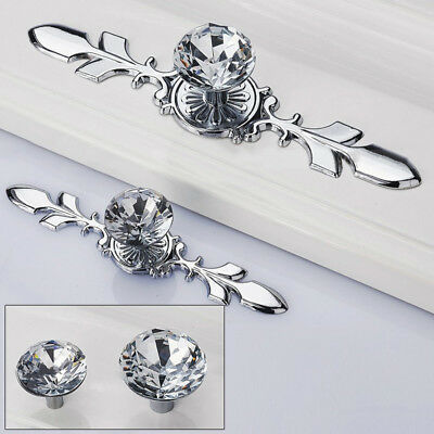 Silver Diamond Crystal Glass Pull Handle Knob Decor for Home Drawer Cabinet Door