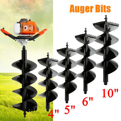 """63CC Gas Post Hole Digger Fence Earth Digger 2 MAN With 4"""" 5"""" 6"""" 10"""" Auger Bits"""
